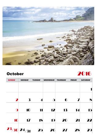 październik: Kalendarz październik 2016 Ilustracja