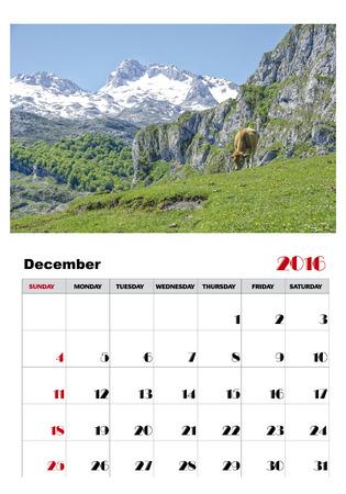 december kalender: Kalender december 2016 Stock Illustratie