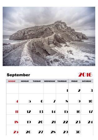 september: Calendar september 2016 Illustration