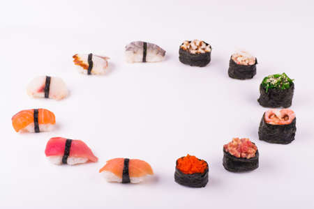 set of sushi  from different seafood isolated on white background photo