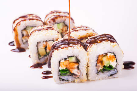 saltwater eel: eel sushi roll isolated on white background