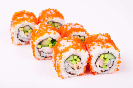 saltwater eel: sushi roll in tobiko isolated on white background