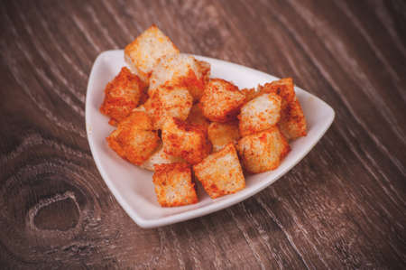 paprica: golden fried paprica croutons served in bowl