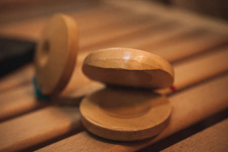 Close up view of wooden castanets no people photo