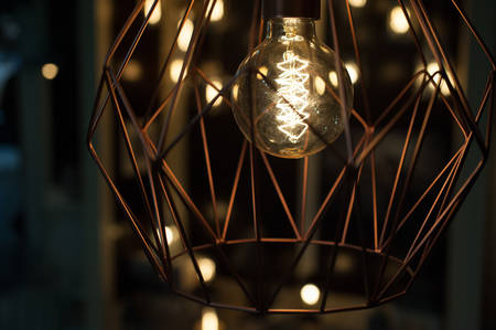 modern lamp from metal with Edison bulb