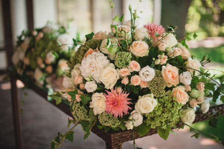floral decoration: Beautiful floral wedding table decoration at reception