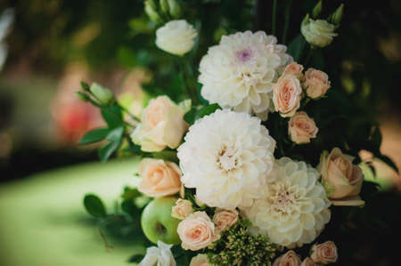 catholic wedding: Beautiful flower wedding decoration in white and pink colour