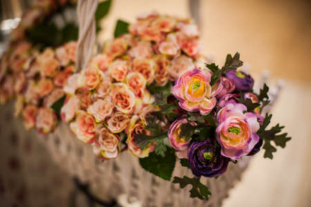 ronantic: Beautiful bouquet of bright flowers in basket. selective focus