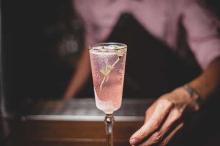 barmen: barmen serves fizzy pink cocktail. no face