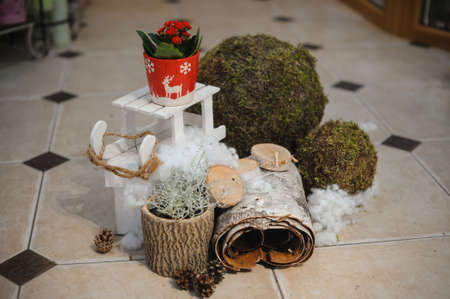 tea cosy: Winter composition  on nature background. white and red