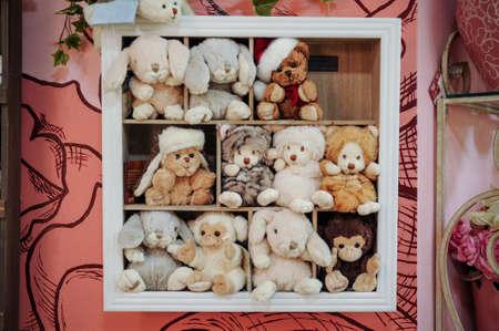 stuffed toys: group of soft stuffed toys on the shelf