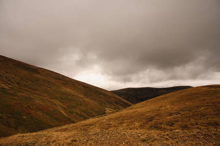 no snow: cloudy mountain view in ukraine no snow