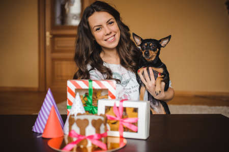 toy terrier: woman holding toy terrier with dog cake and cookies on birthday party