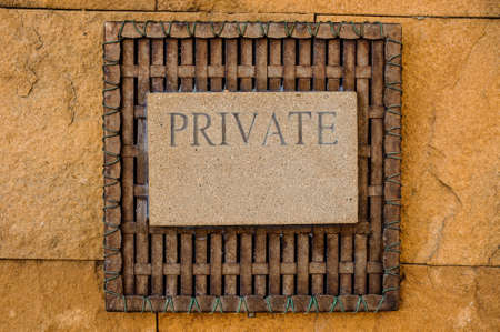 keepout: sign private on lime stone horizontal background