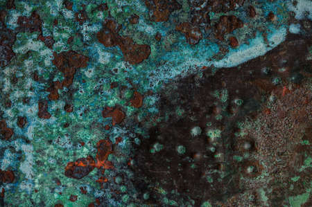 crackles: Multicolored background: rusty metal surface with flaking and cracking texture Stock Photo