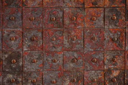 armoring: old rusty metal tile background horizontal background  Stock Photo