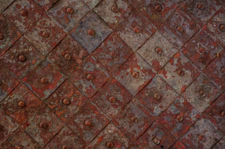 armoring: old rusty metal tile diagonal background horizontal background  Stock Photo
