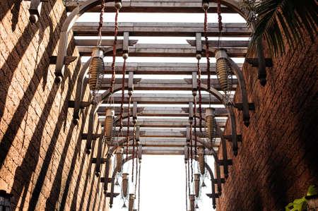 lighting fixtures: Arrangement of hanging lighting fixtures in Thai style outdoor