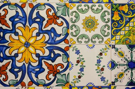 azulejos de cerámica patrones de Portugal. foto horizontal Foto de archivo
