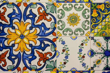 ceramic tiles patterns from Portugal. horizontal photo
