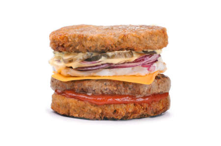 hashbrown: Big tasty hash brown burger isolated on white background Stock Photo