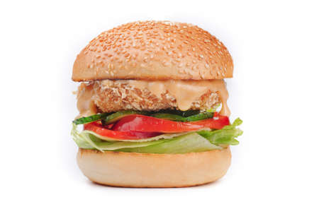 chiken: Big tasty crispy chiken hamburger burger isolated on white background Stock Photo