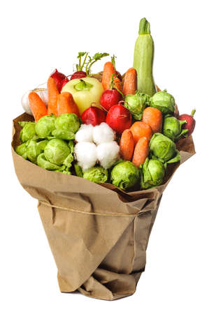 unusual vegetables: The original unusual edible bouquet of vegetables and fruits isolated on white background Stock Photo