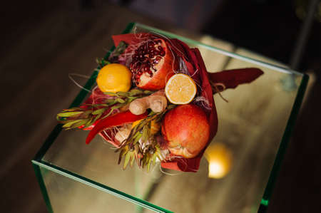 unusual vegetables: The original unusual edible bouquet of vegetables and fruits Stock Photo
