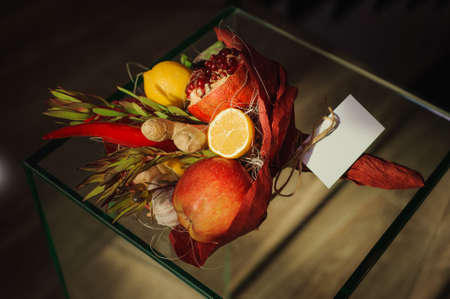 unusual vegetables: The original unusual edible bouquet of vegetables and fruits with card