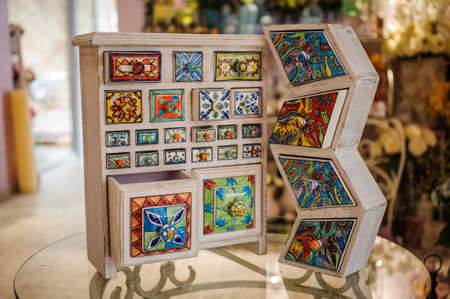 beautiful Hand made crafted colorfull wooden cupboard Stock Photo