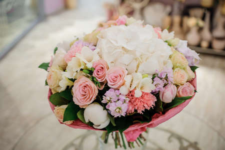 pretty s shiny: beautiful white, pink, purple flower romantic bouquet with bow