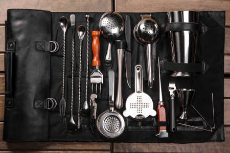 barware: Set of barman equipment in black case