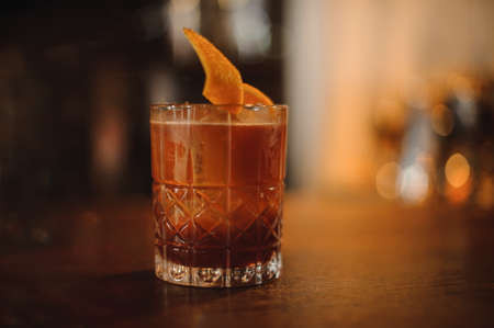 Old fashioned Negroni cocktail on bar counter