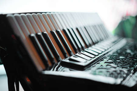 Details of an old accordion, closeup view.