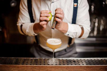 no face close up barman making coctail Stock Photo