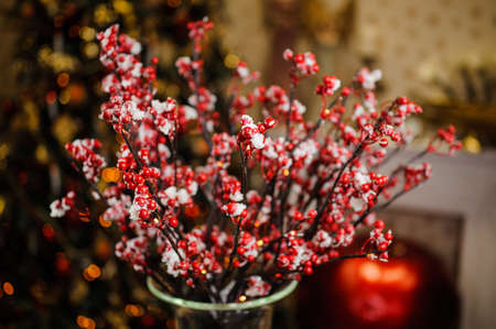 christmastide: Christmas composition of beautiful red berries in snow on the cozy and homely brown background Stock Photo