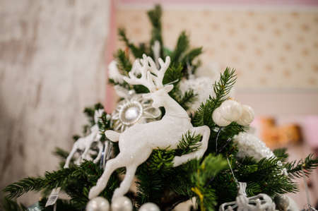 christmastide: White Christmas tree decoration toy in the form of deer