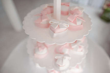 Lovely and tasty cakes in white and pink tones arranged on the white tiered plate