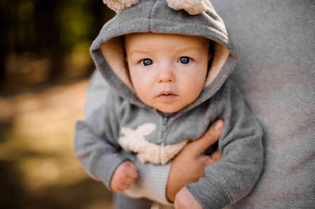 small boy in a soft gray suit with pensive gray eyes looks attentively at the photographer sitting at the fathers hands Standard-Bild