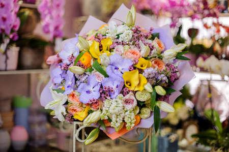 Big bouquet of an amazingly beautiful bouquet of violet white big bouquet of an amazingly beautiful bouquet of violet white pink and yellow flowers mightylinksfo