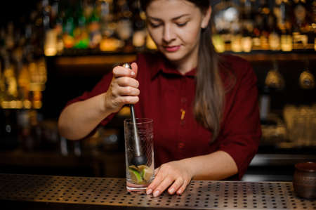 Female bartender pressing down a cane sugar with lime in a glass at the steel bar counter on a blurred background Stock Photo