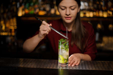 barmaid in a red dress adds to the alcohol cocktail mojito in a crystal glass cocktail tuba using special tongs