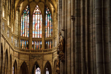 PRAGUE, CZECHIA - OCTOBER 18, 2017: St. Vitus Cathedral. St. Vitus Cathedral is Gothic Catholic Cathedral in Prague Castle, the seat of the Archbishop of Prague.
