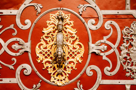PRAGUE, CZECHIA - OCTOBER 18, 2017: Door facade of the Church of Our Lady. Church of Our Lady before is gothic church and a dominant feature of the Old Town of Prague.