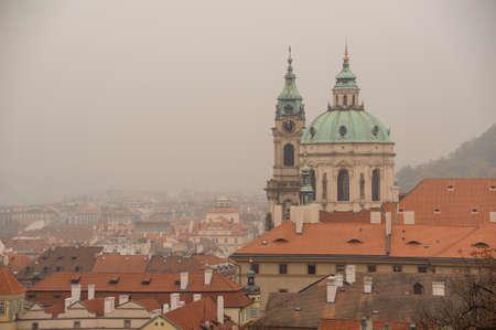 PRAGUE, CZECHIA - OCTOBER 18, 2017: St. Nicholas Church or Mal Strana. The Church of Saint Nicholas a Baroque church in Lesser Town of Prague.