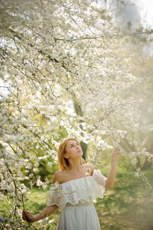 Beautiful blonde girl, dressed in a white dress with a open shoulders, standing between branches of white blossom tree and looking up