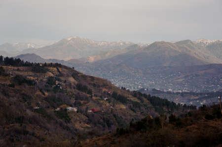 Autumn georgian landscape of rural part of Batumi town in mountains