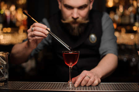 Portrait of bartender putting cherry in an alcohol drink