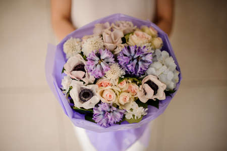 Close shot of amazing wedding bouquet with bluebells 스톡 콘텐츠
