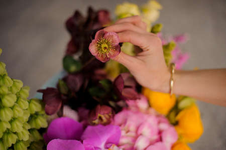 Girl holding a flower on the background of spring box of tender yellow, green and pink flowers 스톡 콘텐츠
